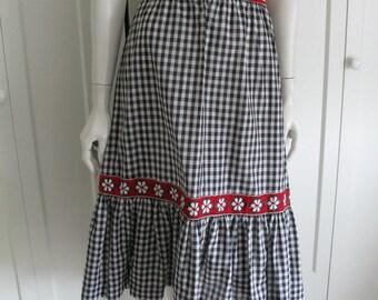 "Vintage  Black & White Cotton Gingham  Tiered  Skirt  Ribbon Trim - Waist 28"""