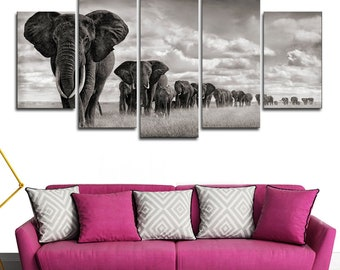 Framed Multi Panel Canvas Split |  Beautiful Canvas Wall Mural |  Split Panel |  Abstract Wall Art | Elephant Walking On The Grassland