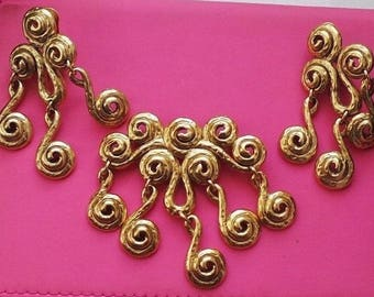 Vintage Alfred Sung Clip On Earrings With Matching Brooch