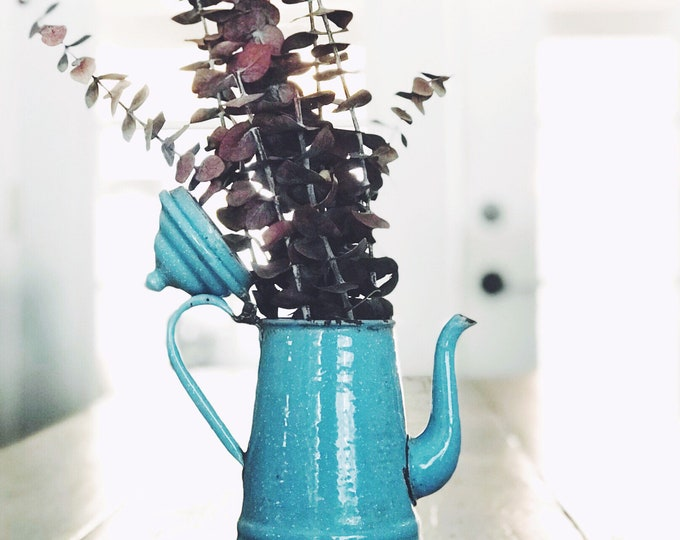 Vintage Blue Enamel Coffee Pot // Farmhouse Collectible