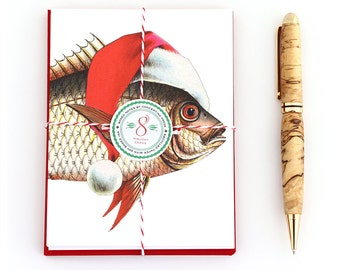 Fisherman Christmas Cards, Fish Christmas Cards, Christmas Cards for Fishermen, Holiday Cards for Fishermen, Funny Christmas Card Set