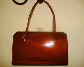 Retro Kelly Handbag Purse Brown Patent Leather