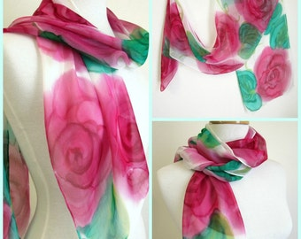 Silk Scarf with Red Roses - Hand Painted Silk Scarves - Floral Scarf - Australia