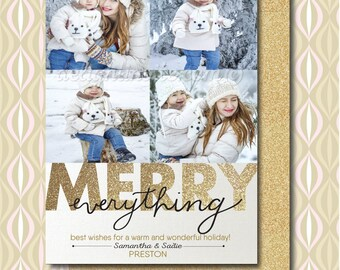 Gold Glitter Christmas Photo Cards, Merry Everything Photo Cards, Unique Christmas Photo Cards, Holiday Photo Collages, HOL547