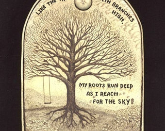 tree inspirational verse roots swing Moosup wall plaque