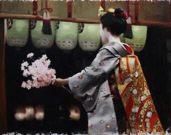 "Hanatouro - signed 8"" x 10"" print of an original painting -japanese geisha art asian maiko artwork"