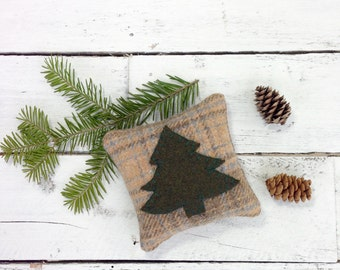 Tree Pillow, Pine Tree, Woodland Pillow, Maine Balsam Pillow, Rustic Home Decor, Woodland Decor, Rustic Pillow, Little Pillow, Plaid Pillow