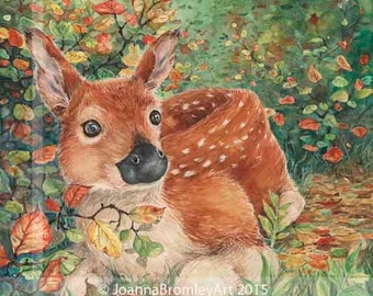 Autumn Beginnings  - archival wildlife fawn baby deer gold leaf illustration, 8x8 print