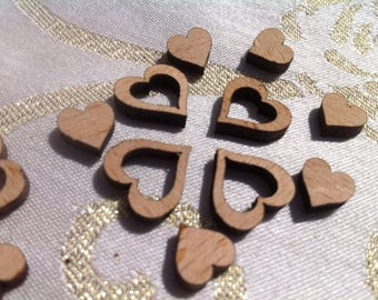 Little Wood Love Hearts Table Mix of 400 Wedding Decoration Confetti