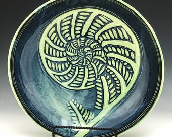 Fiddlehead Fern Sgraffito Pottery Large Shallow Bowl in Green