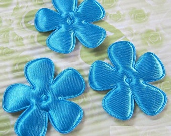 SET of 6 flowers 25mm blue neon applique embellishment 207