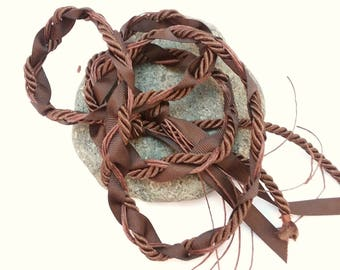 Wedding Handfasting Cord - Brown Twisted SIMPLE No BEADS