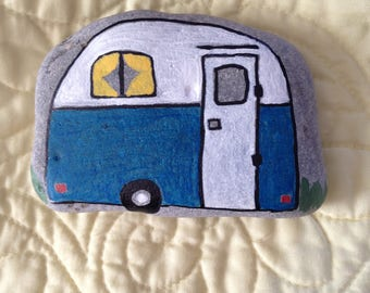 Vintage Camper Blue and White Hand Painted River Rock