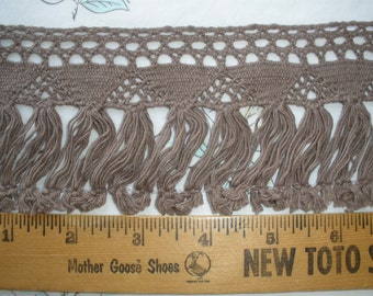 "Taupe or Royal Blue Cluny Lace & Tassel Fringe trim 3"" wide cotton retro BTY yardage sewing crafts costume home decor Paprika fringe"