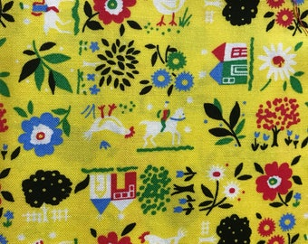 Vintage Folk Art Fabric sold by the yard on yellow