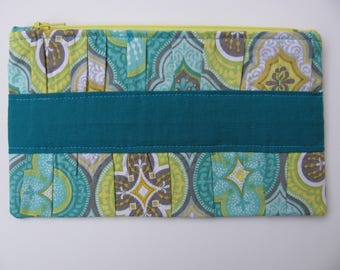 Aqua and Gray Gathered Clutch Purse