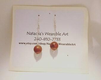 "Rust Color Jasper and Sterling Silver Earrings with Stainless Steel Earring Hooks/ Earrings Hang 2"" Long"