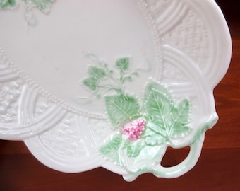 Vintage Majolica Platter and Two Plate Set / Italy, Italian / Green White  Purple / Grapes Berries / Art Nouveau / Vineyard Wine