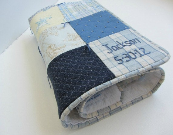 Personalized Baby Boy Quilt With Custom Name And Date Hand Embroidered ~ Blue Navy Yellow Beige ~ Toile ~ Nursery Decor ~ Baby Shower