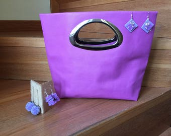 Lilac leather clutch bag made by hand