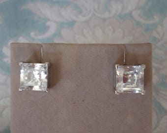 Sterling Silver Earrings with Clear CZ Square Stone , Pierced Posts, Minimalist Jewelry, 10mm 8 Grams
