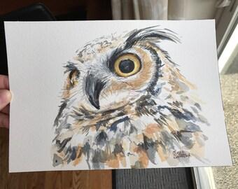 Great Horned Owl Watercolor Painting, Owl Illustration, ORIGINAL Watercolor, Barn Owl Art, Wild Bird, Bird of Prey, Owl Watercolor, Wildlife