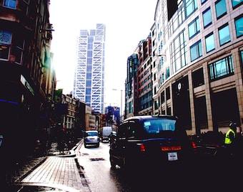 London photography, street photography, Liverpool Street, fine art photography, black cab, skyscrapers