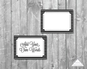 editable labels, buffet labels, black and white labels, printable pdf, pdf file, editable pdf, black and white party, party labels, add text