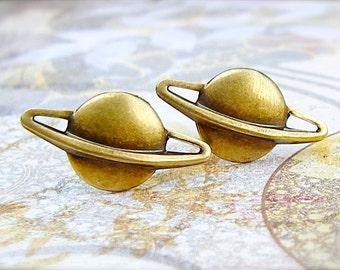 Saturn - antique brass post earrings