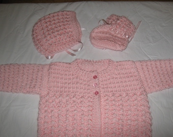 New Hand Knit Pink Baby Sweater Set