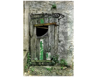 Dilapidated Door, Wabi Sabi, South of France, Green, French Village, France Photography