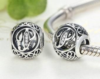 "Letter ""P"" 925 Sterling Silver Charm Bracelet Bead (Fits Pandora and European Bracelets)"