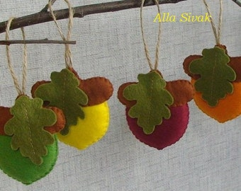 Rustic Acorn Ornaments, Woodland Christmas, Autumn & Fall Decorations, Colorful Acorns, Felted acorns,  Fall decor, Wool acorn ornaments