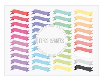Flags Ribbon Banners Clip Art - Digital Banners for Cards, Baby Showers, Webs, Blogs, Graphic Design, Scrapbooking, Tags...