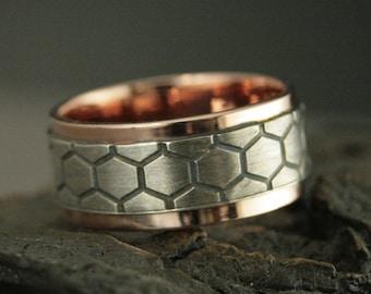 Two Tone Ring for Him Honeycomb Ring Genus Apis Honeycomb Band DNA Ring Bee Ring Men's Wedding Band 14K Rose Gold Ring Two Tone Wedding Band