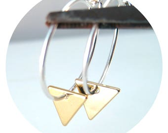 Silver and Gold Mixed Metal Hoops, Geometric Triangle Hoop Earrings