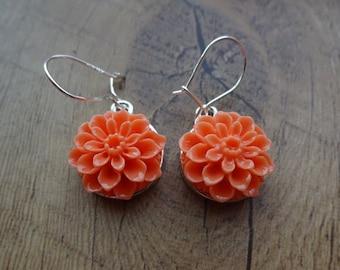 Light Salmon Pink Dahlia Hanging Flower Silver Dangle Drop Earrings