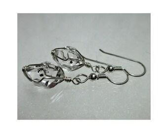"""ww1309 - 1/2"""" Wirewrap HERKIMER DIAMOND EARRINGS - Argentium Sterling Silver"""