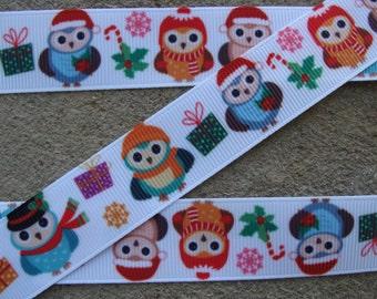 "3 yards Christmas Owl grosgrain hair bow printed ribbon 7/8"" Christmas tree Christmas gift box Snowflake ribbon Winter ribbon"