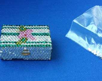 Madeline Beth Pill Box with replacement crystals Vintage 1980's ONE OF A KIND **Sale Price Cut**
