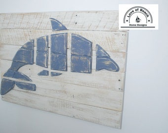 Dolphin in the Ocean Wood Wall Art, Dolphin Picture, Sealife, Dolphin Art, Distressed Dolphin, Wood Dolphin, Coastal, Beach