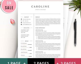 40% OFF Resume Template - Simple Resume Template - CV Template - Instant Digital Download - Caroline