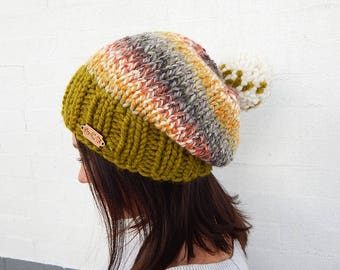 Made to Order: Chunky, Knit Winter Hat w/ Pom pom - Handmade, Acrylic/Wool Blend - Multicolored Earth Tones