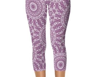 Capri Patterned Leggings for Women, Mandala Yoga Pants, Byzantium Yoga Leggings Pants