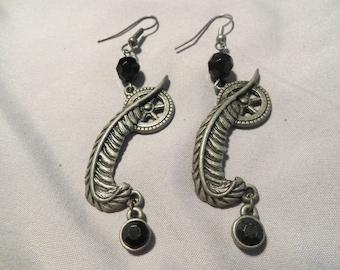 Steampunk Feather earrings