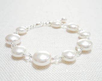 Coin Pearl Bracelet, White Swarovski Crystal Pearl Bracelet, Sterling Silver Jewelry, Bridal Jewelry, Beaded Bracelet, Wedding Jewelry