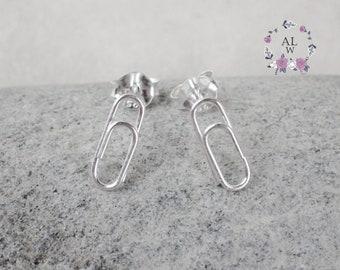 925 Sterling Silver Earrings Stud Earrings Paper Clip