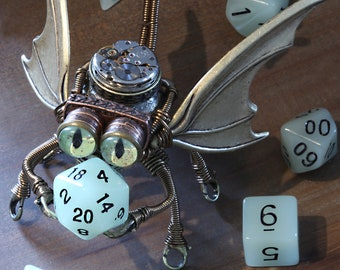 Little Steampunk Flying Octopus Modron Robot Sculpture with taxidermy glass eyes