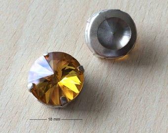 Round glass rhinestones sunflower gold 1245