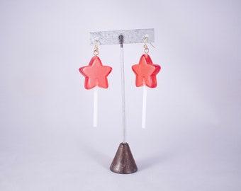 Red Clear Kawaii Star Shaped Faux Candy Lollipop Hook Dangle ONE OF A KIND Earrings